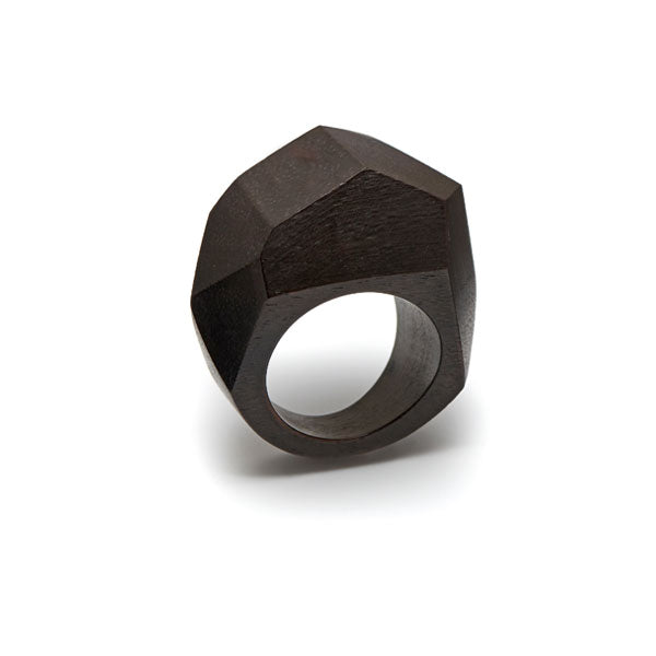 Branch Jewellery - Faceted black wood ring
