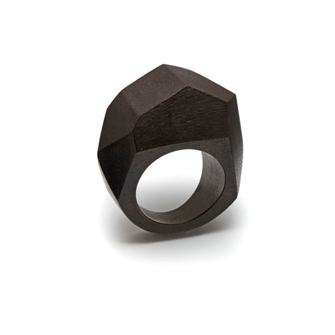 Small faceted Black wood and gold plated silver ring