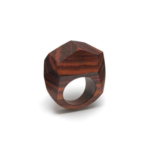 Branch Jewellery - faceted brown wood statement ring