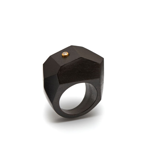 Branch Jewellery - Black wood faceted statement ring with crystal stone set in gold plated silver