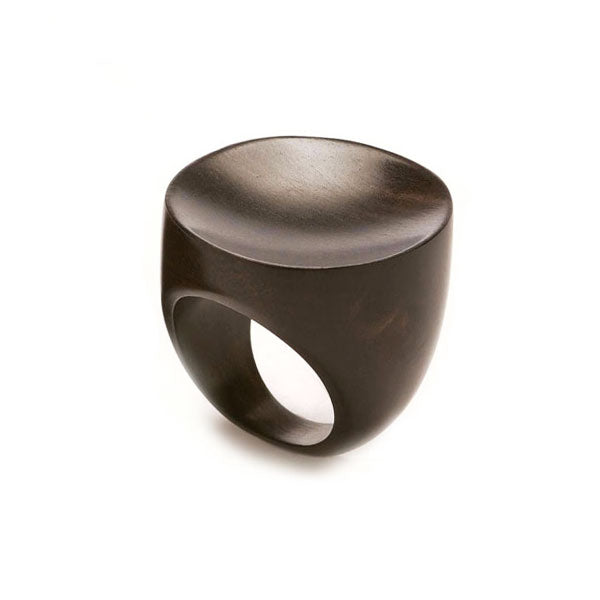 Concave Black Wood Ring