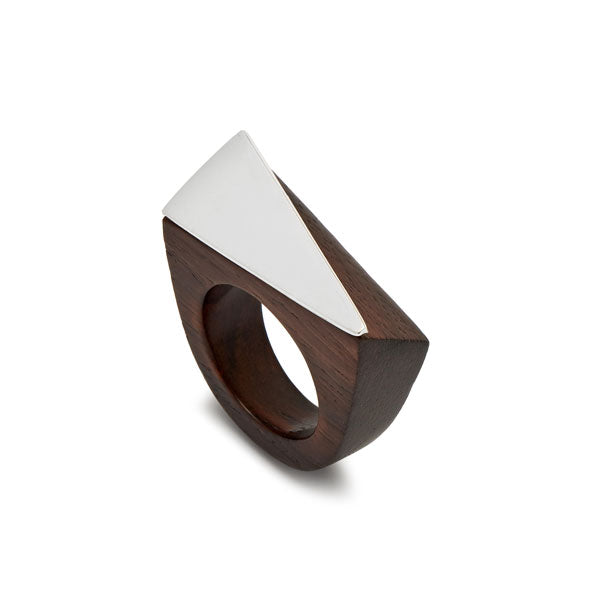 Branch Jewellery - Brown wood and silver angular statement wooden ring