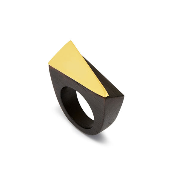 Branch Jewellery - Black wood and gold plate angular statement wooden ring