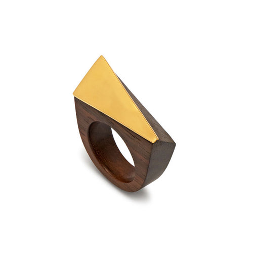 Rosewood angular ring - Gold