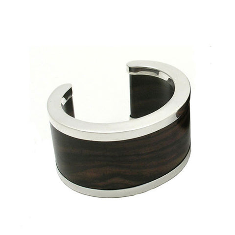 White wood & Silver Signature Cuff