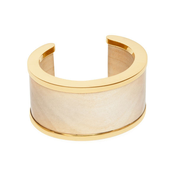 Branch Jewellery - White wood and gold edged wooden cuff
