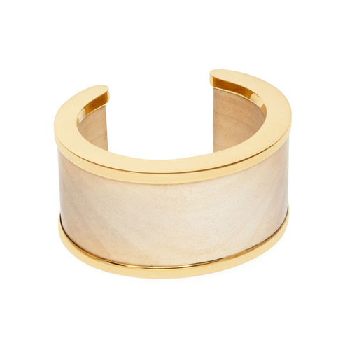 White Wood & Gold Plate Signature Cuff