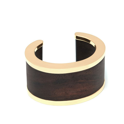 Gold plated silver lined Black wood ring