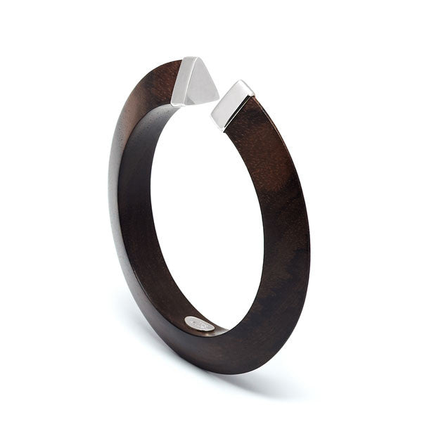 Branch jewellery - Rosewood bangle with silver capped ends