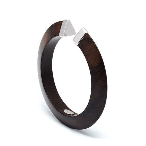 Open Tribe White Wood Bangle- Gold Plate