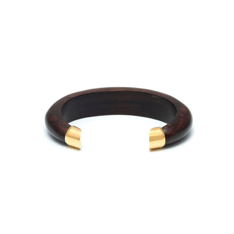 White Wood Wrap Over Bangle - Gold Plate