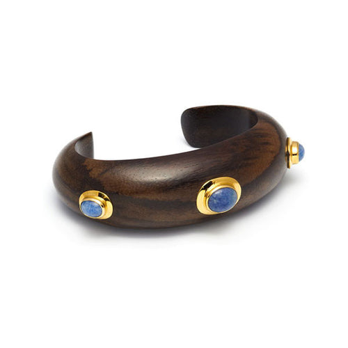 Blue Quartz Stone & Gold plate Rounded Cuff