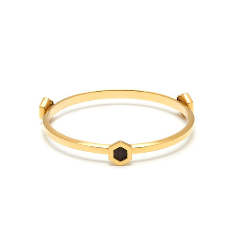 Rosewood, gold plate and Cherry Quartz Oval ring