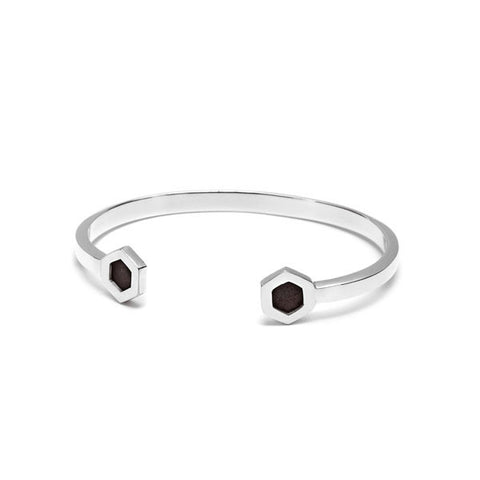 Faceted black wood and crystal stud bangle – Silver