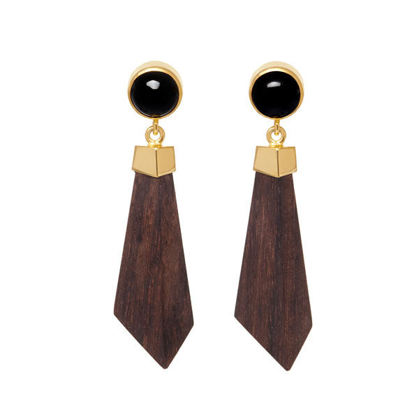 Black Stone, Gold and Hand Carved Earrings