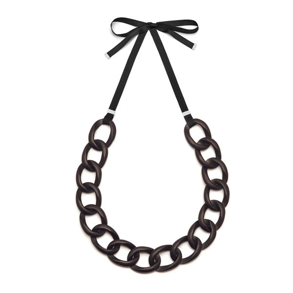 Branch Jewellery - Brown wood curb link necklace set on black ribbon