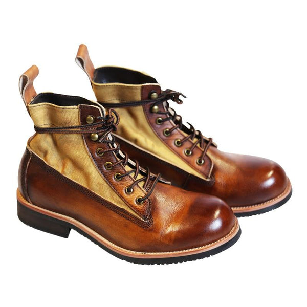 Handmade Retro Lace Up Genuine Cow Leather Work Boots