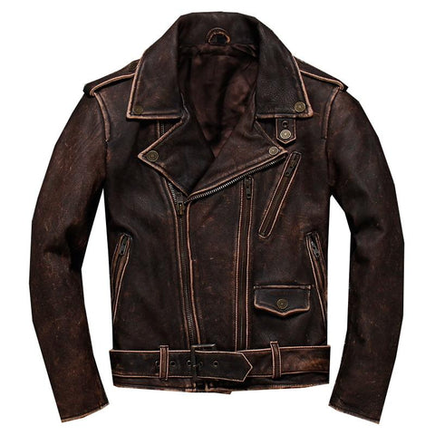 2019 Vintage Thick Cowhide Brown Leather Jacket