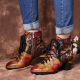 Handmade Sun Flower Genuine Leather Zipper Lace Boots