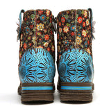 Women Genuine Leather Floral Ankle Boots