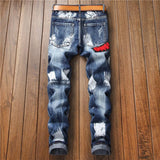 Patchwork Ripped Embroidered Stretchy Jeans