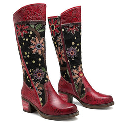 Genuine Leather Women's Patchwork Western Cowboy Boots