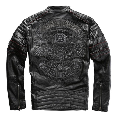 Skull Embroidery Genuine Leather Motorcycle Jacket