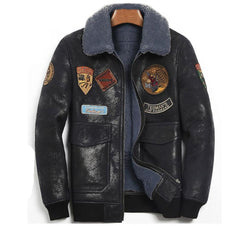 Genuine Shearling Wool Leather Pilot Jacket