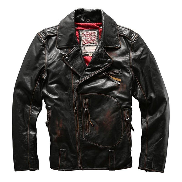 Side-Laced Genuine Cowhide Biker Jacket