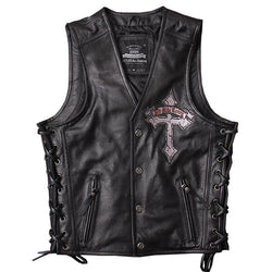 Skull Embroidery Genuine Cowhide Motorcycle Vest