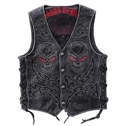 Lightening Skull Embroidered Genuine Leather Vest