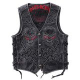 Lightning Skull Embroidered Genuine Leather Vest