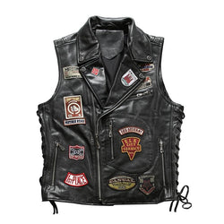 Genuine Cowhide Slim Fit Patterned Biker's Vest