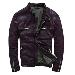 Slim Fit Genuine Sheepskin Motorcycle Jacket