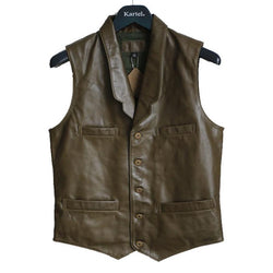 Olive Green Casual Genuine Leather Vest