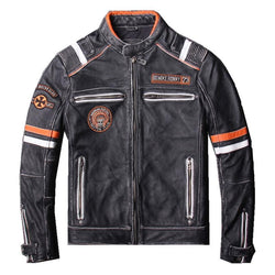 Genuine Cowhide Slim Fit Racing Jacket