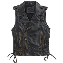 MAX-XX55 Slim Fit Cow Hide Leather Riding Vest