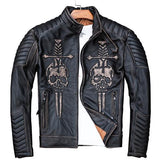 2019 Vintage Double-Skulls Genuine Leather Biker's Jacket
