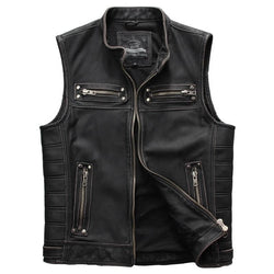 MAXV-688 Slim Fit Biker's Leather Vest