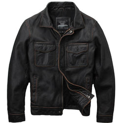 Vintage Double Pocketed Genuine Cowhide Jacket