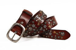Skull and Shield Sequined Genuine Leather Belt