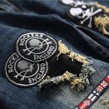 Men's Patchwork Skull Stretch Jeans