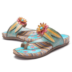 Bohemia Summer Leather Flower Sandals