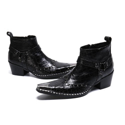 Leather Punk Motorcycle Boots
