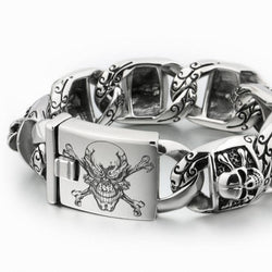 Stainless Steel Deep Laser Engraved Pirate Skull Bracelet