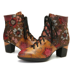 Sun Flower Genuine Leather Zipper Lace Boots