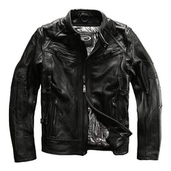 Genuine Cowhide Biker Jacket with Removable Lining.
