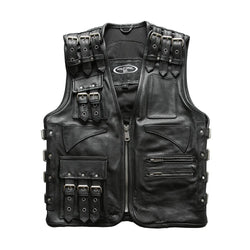 Genuine Leather Thick Cowhide Motorcycle Vest