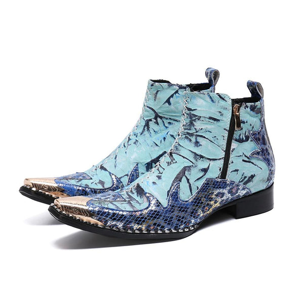 Patchwork Mens Ankle Boots