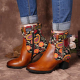Embroidered Genuine Leather Floral Boots.
